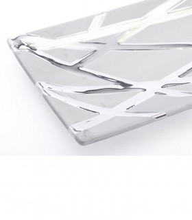 Centro de cerámica rectangular plata brillo-mate 31x14x3cm