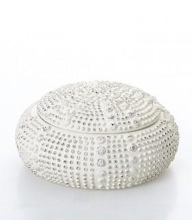 Caja redonda resina blanca 15cm