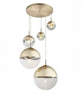 Colgante 5 luces metal dorado