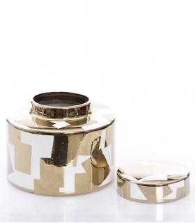 Caja Tibor de cerámica color oro-blanco