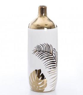 Florero de cerámica 37cm color oro-blanco