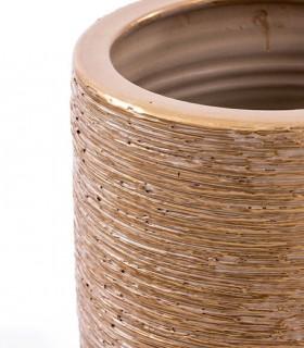Detalle Paragüero-Jarrón de suelo 50cm dorado-blanco