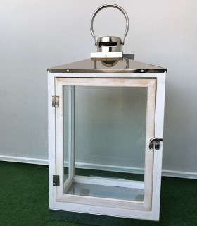 Farol rectangular blanco-cromo 47cm