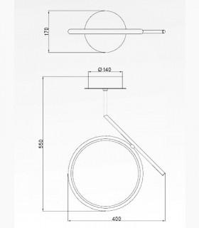 Dimensiones Lámpara de techo Olimpia LED 20w Mantra
