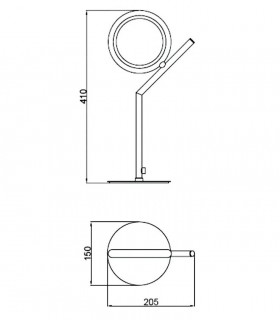 Medidas lámpara de sobremesa Olimpia LED 8W Mantra