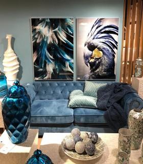 Composición con cuadro plumas azul-blanco