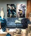 Ambiente Cuadro cristal loro azul