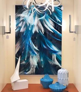 Composición con Jarrón bajo cerámica azul