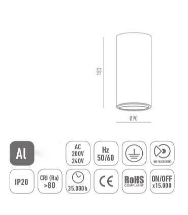 Características Foco de superficie CIL FIJO BLANCO LED 10W Ø90mm