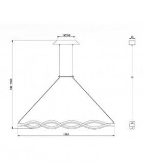 Lámpara de techo SAHARA LINE 40W 6612 de Mantra, dimensiones.