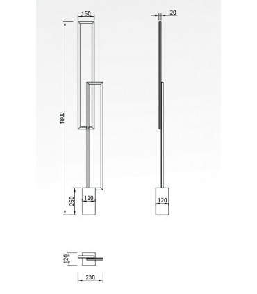 Lámpara de pie MURAL 6563 48W de Mantra, dimensiones.