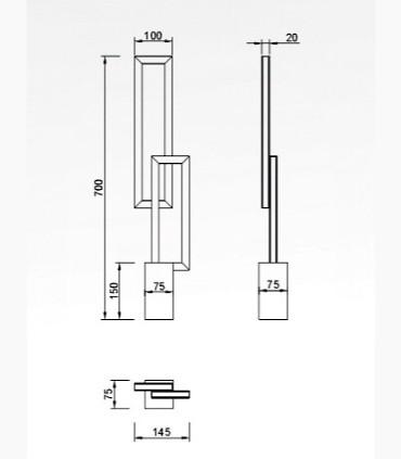 Lámpara de sobremesa MURAL 6562 18W de Mantra, dimensiones
