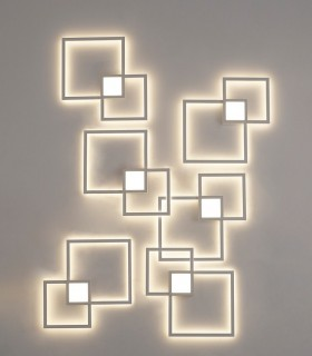 Aplique Mural 6231 blanco 24w Mantra. Composición realizada con varios apliques.