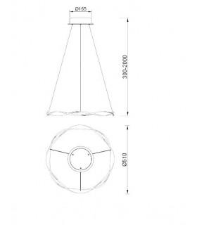 Lámpara techo MADAGASCAR  24W Blanco 6573 de Mantra. Dimensiones