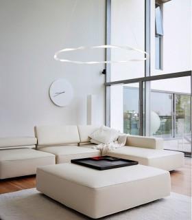 Lámpara techo MADAGASCAR  46W Blanco 6570 de Mantra. Imagen ambiente sala.