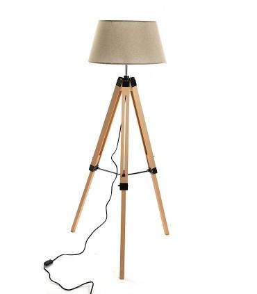 Lámpara de pie Trípode madera con pantalla