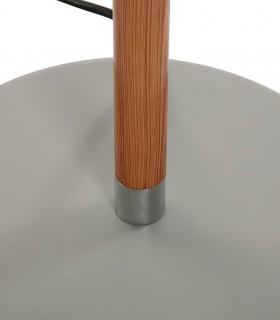 Detalle de la base Lámpara de pie gris madera con pantalla