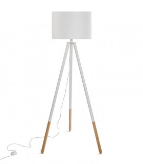 Lámpara de pie Trípode blanca-madera con pantalla