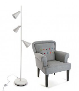 Lámpara de pie 3 focos blanca