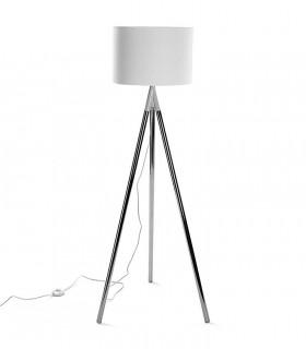 Lámpara de pie Trípode cromo con pantalla