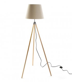 Lámpara de pie 3 patas madera con pantalla