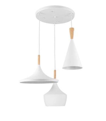 Lámpara de techo  Eyra Blanco de Jueric con 3 colgantes diferentes.