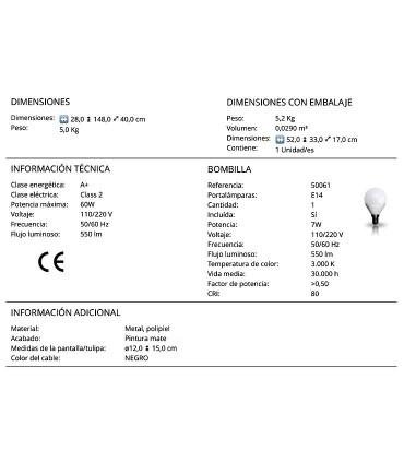 Lámpara de pie ADAME estilo nórdico de Schuller. Características técnicas