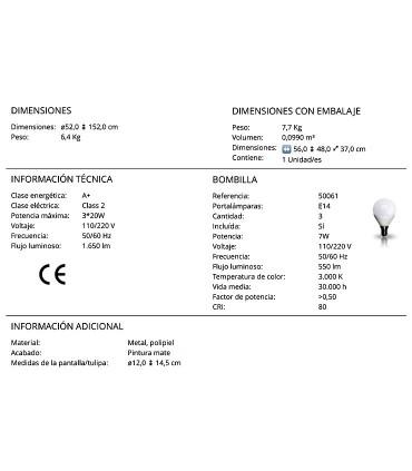 Lámpara de pie ADAME 3 luces de Schuller. Características técnicas