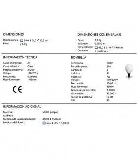 Plafón nórdico ADAME 3 luces de Schuller. Características técnicas