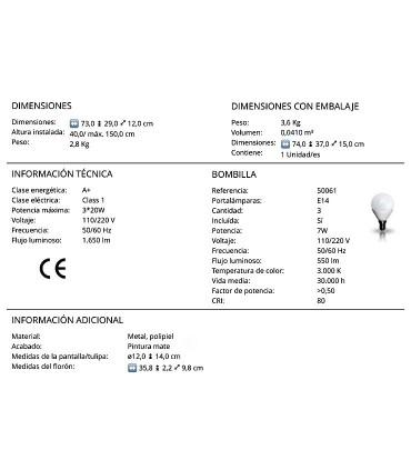Lámpara nórdica ADAME 3 luces de Schuller. Características técnicas