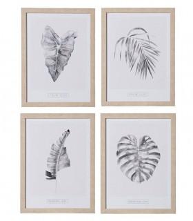 Composición con cuadros estilo tropical.