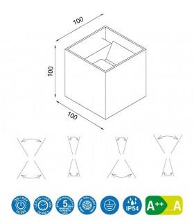 Dimensiones. Aplique Exterior Davos 6521 cubo blanco de Mantra