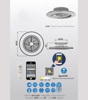 Características técnicas: Ventilador de techo Alisio Mantra gris DC con Mando 6706