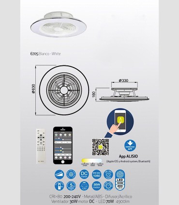 Dimensiones Ventilador de techo Alisio Mantra blanco DC con Mando 6705