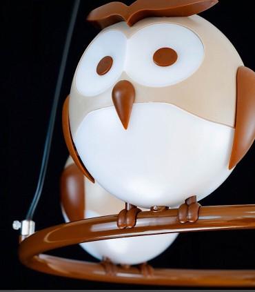 Detalle Lámpara techo infantil OWL 3 luces Kelektron