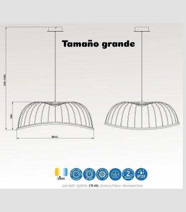 Medidas lámpara Celeste grande de mantra 40W
