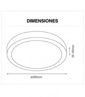 Dimensiones Plafón led redondo 30W 4000K 2400lm