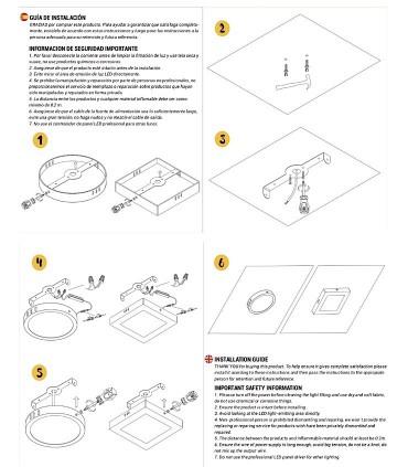 Guía de instalación. Plafón led cuadrado 30W 4000K 2400lm