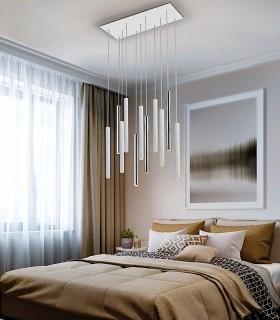 Lámpara VARAS cromo/blanco 11L - Schuller