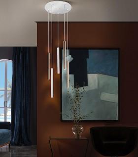 Lámpara VARAS oro/blanco 5 luces - Schuller 373101