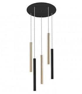 Lampara VARAS oro/negro 5 luces dimable con mando - Schuller 373142D