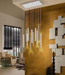 Lampara VARAS oro blanco 11 luces - Schuller.