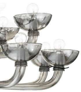 Detalle de brazos de vidrio soplado. Lámpara Grande Casanova 16 luces Fume Ø120cm Ideal Lux
