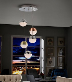 Lámpara 5 luces LED SPHERE color - Schuller