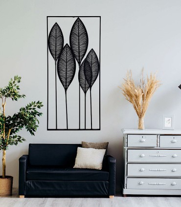 Adorno de metal para decoración vertical negro 61x135