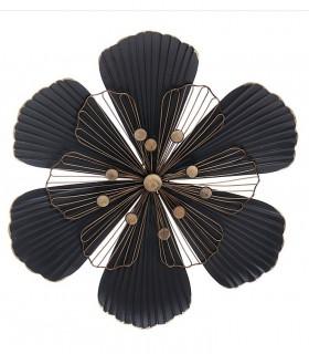 Adorno pared flor 46x6x50 cm negro-oro