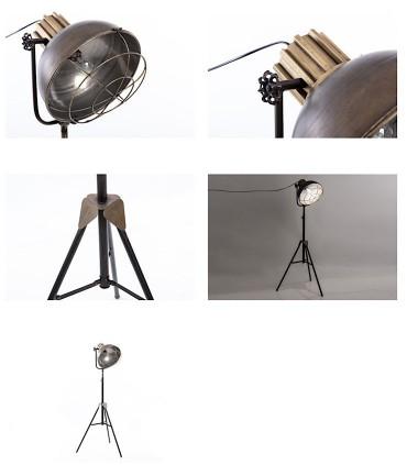 Detalles de Lámpara de pie tipo proyector de cine industrial.