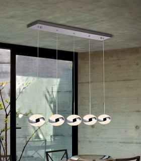 Lampara led LIPSE 5 luces cromo - Schuller