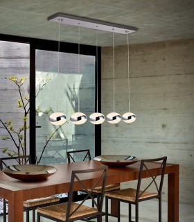 Lampara led LIPSE 5 luces cromo - Schuller 377523
