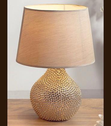Lámpara sobremesa DUR oro con pantalla beige